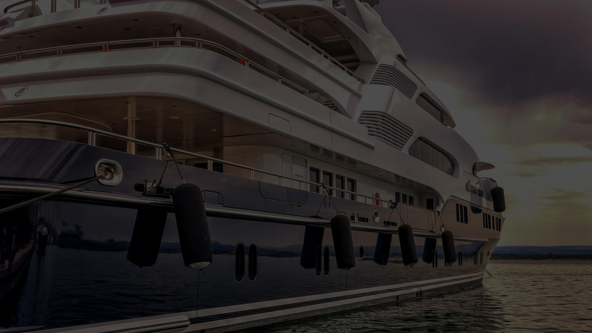 Superyacht from the side dark